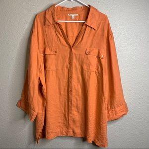 Pale Orange linen Blouse Sz 24w